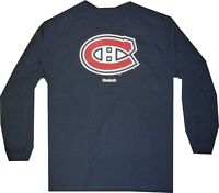 Montreal Canadiens Reebok Long Sleeve Navy Shirt Mens  Clearance