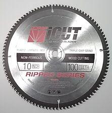 "iCut™ 10"" Non-Ferrous 100 Tooth TCG Saw Blade Cuts Brass Plastic MDF Aluminum"