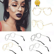 Vintage Classic Fashion Pilot Aviator Sunglasses Clear Lens Glasses Geek Frames