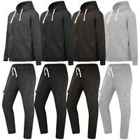 NEW Men Fleece CARGO Pants Sweatsuit BIG & TALL Track Suit Jogger Jacket Hooded