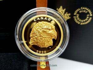 Canada 2020 250$ Proud Bald Eagle 2 oz Pure Gold EHR Coin Royal Canadian Mint #1