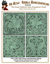 1916 Filet Lace Charts Gothic Style Squares and Borders
