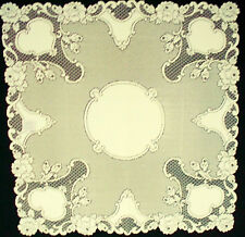 Vintage Rose Table Topper 36x36 Square Ecru Tablecloth Topper  Heritage Lace