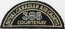 SCARCE VINTAGE ROYAL CANADIAN AIR CADETS 386 COURTENAY CLOTH PATCH. 11.5CMS WIDE
