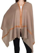 100% Cashmere Brown Pashmina Embroidered Orange Border Ethnic Luxury Royal Soft