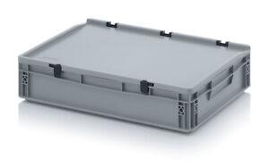 Auer Eurobehälter mit Deckel ED 64/12 HG, 60x40x13,5cm, grau Lagerkiste Eurobox