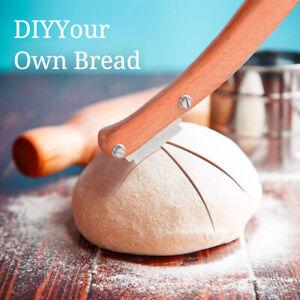 Bread Lame Wooden Handle Bread Slashing Cutter Dough Scoring Knife 5pcs Blades