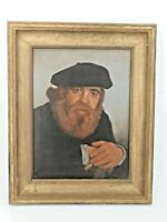 Portrait d'homme barbu, huile sur toile, peinture ancienne