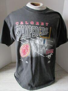 Old Vintage 1994 CFL Calgary Stampeders Black T-shirt Size Large