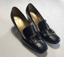Vtg Andrew Gellar Women 7.5 Aaa Black Leather Gold Embellishment Pump