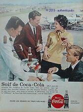 PUBLICITE COCA COLA AEROPORT ORLY AVION VOYAGEURS DE 1959 FRENCH AD PUB VINTAGE