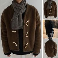 INCERUN Mens Fluffy Fleece Winter Warm Jackets Coat Shaggy Jacket Casual Outwear