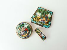 Antique Vintage Enamel 800 Silver Colonial Scene Compacts & Lipstick Holder