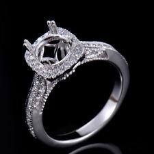 Natural Diamond Semi Mount Engagement Ring Setting Round 6.5mm 18K White Gold