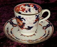 Derby red & blue Imari vintage pre Victorian antique coffee cup & saucer duo