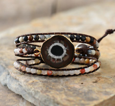 Natural Stone Sun Jasper Beaded Gemstone Druzy Geode Wrap Bracelet Cuff