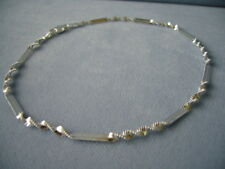 "10"" Sterling Silver Ankle Bracelet-Twisted Shimmery/ Bar Link-Italy 925"