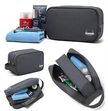 Mens Grey Travel Waterproof Toiletry Bag Wash Shower Organizer Kit Case Handy