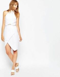 Designer Suboo Herringbone Halter Mini Evening Wrap Dress in White UK 12/EU 40