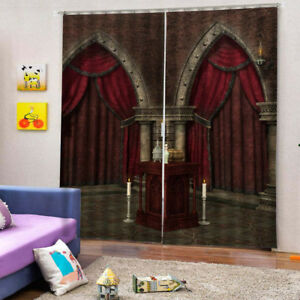 3D Photo Print Window Curtains Kids Room Red Door Picture Artwork 2Panels