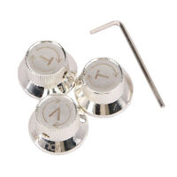 1 Volume knob and 2 Tone knobs with V T Letter Metal Guitar Control Knobs Silver