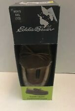 Eddie Bauer Suede Shearling Moccasin Slippers Mens 13 XXL Brown NIB $65