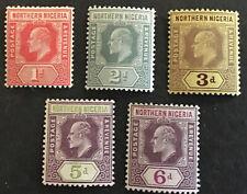 Northern Nigeria Edward VII 1910 Part Set SG 29/30, 32 & 34/5 C/V £27+ in 2018.