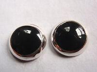 Black Onyx 925 Sterling Silver Stud Earrings Corona Sun Jewelry 10mm Round