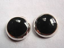 Black Onyx 925 Sterling Silver Stud Earrings Corona Sun Jewelry 10mm Round