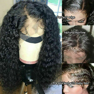 AAA Human Hair Lace Front Wig Womens Brazilian Human -Long Curly Wavy Hair Wigs