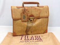 Auth ALVIERO MARTINI PRIMA CLASSE Hand Bag Geo Map Leather 6d130470w*