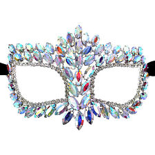 Chunky AB Crystal Rhinestone Royal Venetian Masquerade Eye Mask Prom, Wedding