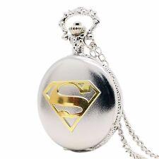 Black/Silver/Bronze Superman Mark S Special Dial Pocket Watch Men Boy Necklace