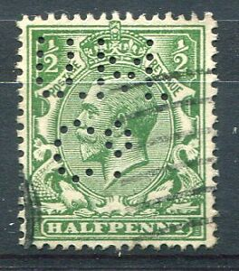 GRANDE BRETAGNE, 1912-1922, timbre 139, PERFORE ' , perfin, oblitéré