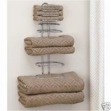 WALL MOUNT TOWEL RACK 4 person bath room holder shelf hotel vanity linen bar rv