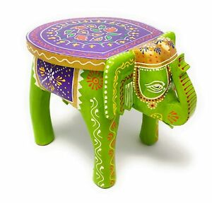 Indian Handmade Hand painted Colorful Wooden Elephant Stool Footstool Table Home