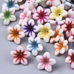 100x White Acrylic Mix Color Pretty Craft Style Flower Beads 13x13x7mm USA