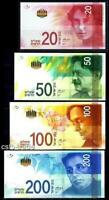 ISRAEL 2014-2017 FULL SET 20 50 100 200 SHEKEL NIS BANKNOTE MONEY COINS UNC חדש