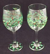 Pair of Hand Painted Wine Glasses Stemware Festive Christmas Greens Red Berries