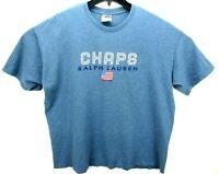 Vintage Chaps Ralph Lauren Men's Size XL T Shirt Blue Spell Out