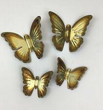 Lot of 4 Home Interior Burco Brass Tone Butterflies Wall Decor Brass Tone Vtg