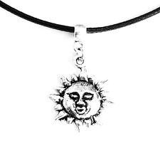 Sun Charm Pendant Choker Necklace with Black Cord