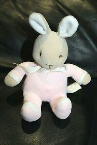 Doudou lapin assis marron blanc pyjama rose BUNNYKINS noeud satin 16 cm