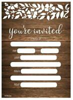 30 Rustic Wedding Invitations Fill-in You're Invited Country Wood Floral Lace