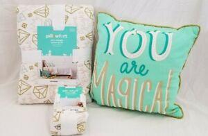 3 pc Pillowfort Shine Bright Twin Quilt, Sham, & Decorative Pillow Set NIP