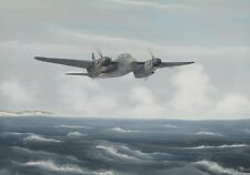 ORIGINAL WW2 AVIATION ART PAINTING RAF MOSQUITO FIGHTER BOMBER WWII AIRCRAFT