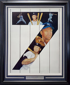 Mickey Mantle Auto Framed 25x32 Lithograph Photo Yankees Artist Proof /50 193714