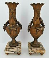 Ancienne paire de cassolettes en régule style Louis XVI