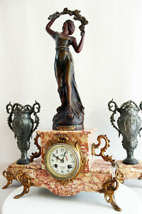 FRENCH  CLOCK SET ART NOUVEAU HEAVY MARBLE WITH STATUE
