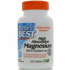 Chelated Magnesium 120 Tablets High Absorption NON-GMO Gluten Free Vegan